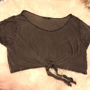 Brandy Melville grey tie front crop top